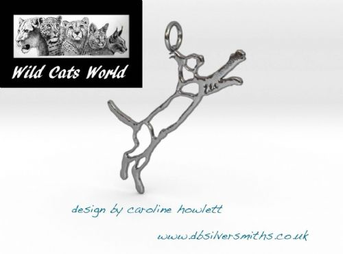 Caracal pierced pendant necklace sterling silver handmade by saw piercing Wild Cats World